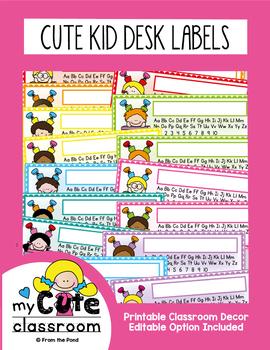 Desk Name + Alphabet Plates - Cute Kids {editable version included}