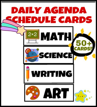 Classroom Daily Agenda Schedule Cards for Whiteboard (50+ CARDS TOTAL)