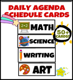Classroom Daily Agenda Schedule Cards for Whiteboard (50+