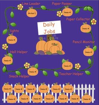 Classroom Daily Job Assignments October Pumpkin for SMARTBoards