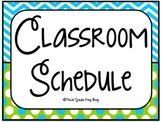 Classroom  Daily Schedule Aqua & Lime theme  UPDATED Edita