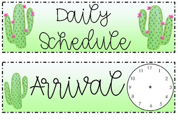 Classroom Daily Schedule - Cactus Themed