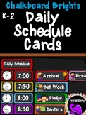 Classroom Daily Schedule Cards - Bright and Bold Chalkboard Theme