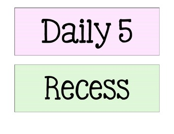 Classroom Daily Schedule Pocket Chart Cards