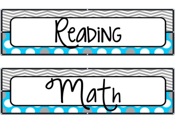 Classroom Daily Schedule in Aqua & Gray Decor with Editable Slide