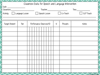 Classroom Data Chart for Speech and Language Intervention