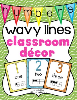 Number Posters: wavy lines