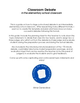 Classroom Debate - a guide to elementary school classroom debate