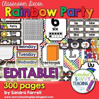 Editable Classroom Decor Rainbow Party