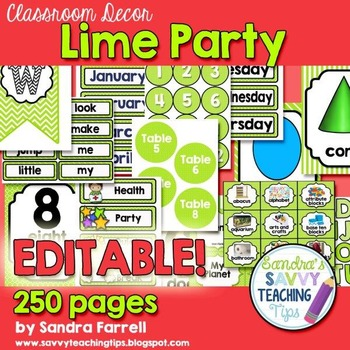 Editable Classroom Decor Lime Party
