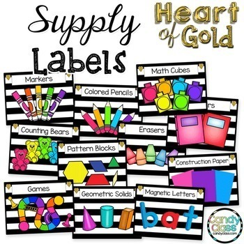 Editable Classroom Decor - Heart of Gold Collection