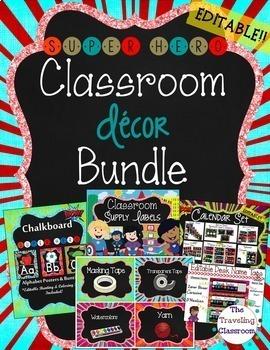 Classroom Decor {Chalkboard Super Hero Theme} - Editable Classroom Decor Bundle