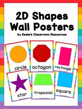 Classroom Decor  2D Shapes Wall Posters