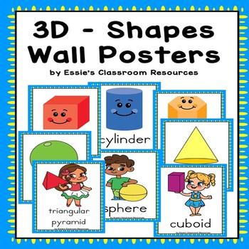 Classroom Decor 3D Shapes Wall Posters