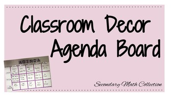 Classroom Decor: Agenda Bulletin Board Text