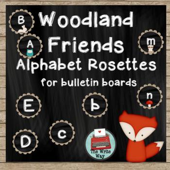 Classroom Decor - Alphabet Banner Rosettes - Woodland Friends Theme