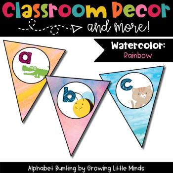 Classroom Decor: Alphabet Letter Bunting- Rainbow Watercolor