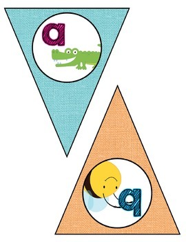 Classroom Decor: Alphabet Letter Bunting- Rustic Rainbow Shabby Chic Burlap