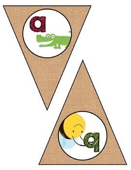 Classroom Decor:  Alphabet Letter/Sound Bunting- Shabby Chic Burlap