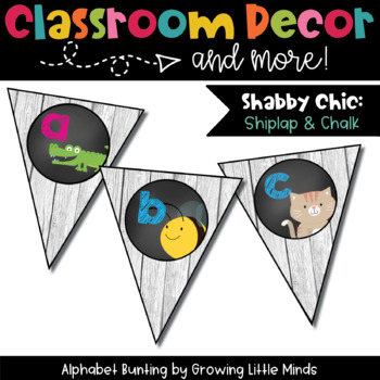 Classroom Decor:  Alphabet Letter/Sound Bunting- Shabby Chic Wood Chalkboard