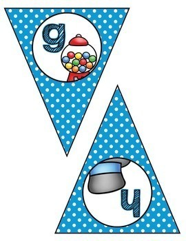 Classroom Decor:  Alphabet Letter/Sound Bunting- blue