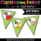Classroom Decor:  Alphabet Letter/Sound Bunting- green