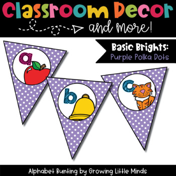 Classroom Decor:  Alphabet Letter/Sound Bunting- purple
