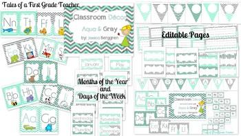 Classroom Decor {Aqua and Gray} Editable