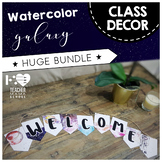 Classroom Decor BASIC PACK - { Watercolor Space Galaxy Theme }