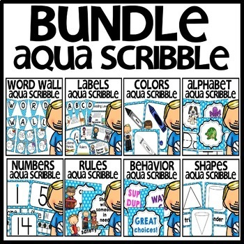 Classroom Decor BUNDLE (Aqua Scribble Theme)