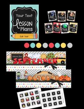 Classroom Decor BUNDLE - Calendar - Banners - Binder Covers