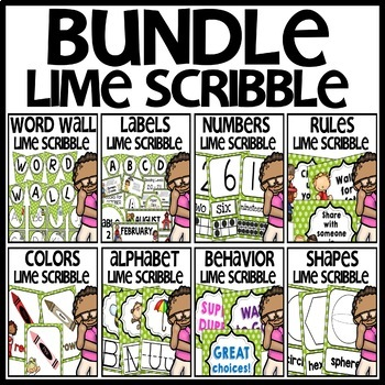 Classroom Decor BUNDLE (LIME Scribble Theme)