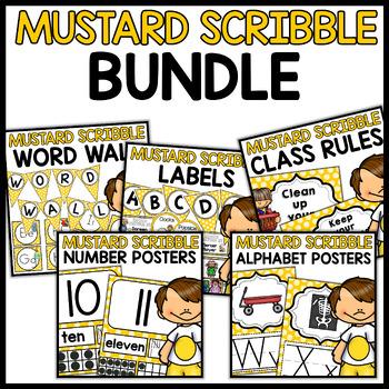 Classroom Decor BUNDLE (MUSTARD Scribble Theme)