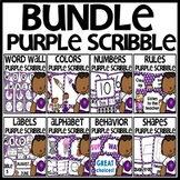 Classroom Decor BUNDLE (PURPLE Scribble Theme)