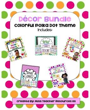 Classroom Decor BUNDLE!  Polka Dot Theme - Math Posters wi