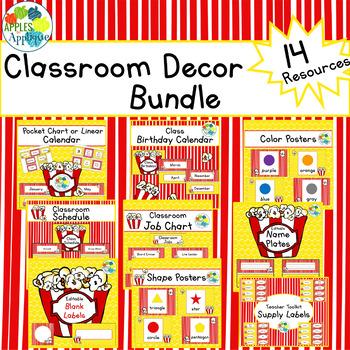 Classroom Decor BUNDLE in Popcorn Theme