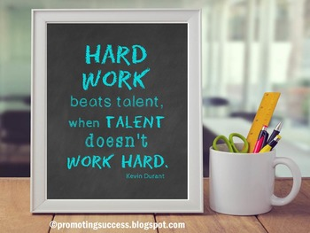 Motivational Quote Poster about Hard Work for Back to School Classroom Decor