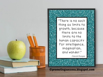 Inspirational Classroom Decor Poster with President Ronald Reagan Quote