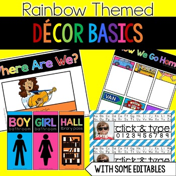 Classroom Decor Basics for Rainbow Theme
