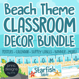 Classroom Decor Beach Theme BUNDLE - Posters, Banners, Labels, Signs