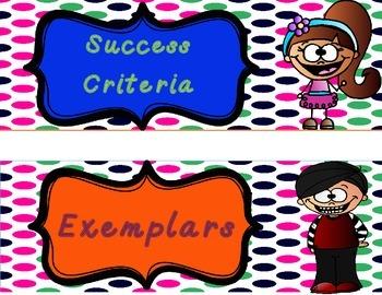 Classroom Decor: Big Idea, Learning Goal, Success Criteria and Exemplars