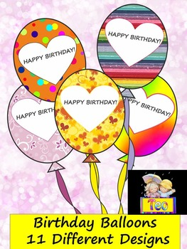 Classroom Decor Birthday Balloons - 11 Different Designs