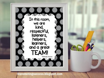 Classroom Rules Poster with Teamwork Quote Black & Gray Decor