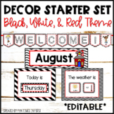 Classroom Decor | Editable | Black, White, & Red Theme