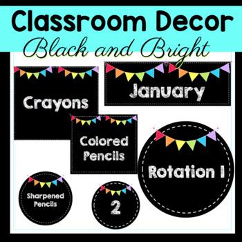 Classroom Decor - Black and Bright Theme Decorations