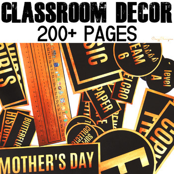 Classroom Decor Black and Gold