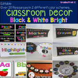Classroom Decor Black and White Brights