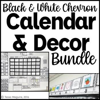 Black and White Chevron Classroom Calendar & Decor Bundle {Editable}