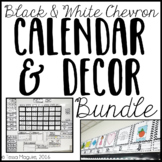 Black and White Chevron Classroom Calendar & Decor Bundle