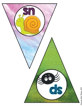 Classroom Decor:  Blends/Digraphs Bunting- Rainbow Watercolor